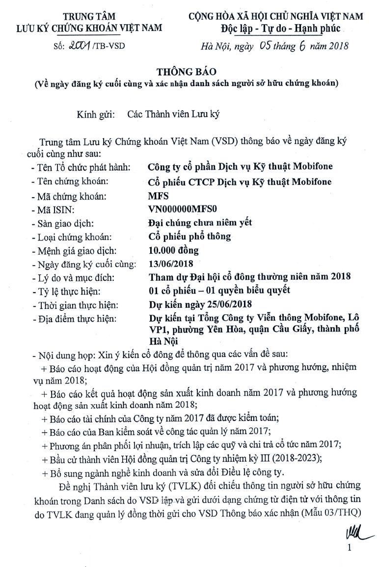 2001.VSD thông báo về ngày đăng ký cuối cùng